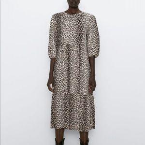 Zara Leopard Print Midi Dress - M